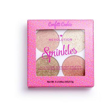 Makeup Revolution Blush&Sprinkles Confertti Cookie – paleta róży i rozświetlaczy (1 szt.)