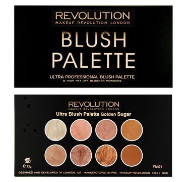 Makeup Revolution Blush Palette 8 Golden Sugar – zestaw róży, bronzerów i rozświetlaczy do twarzy (13 g)