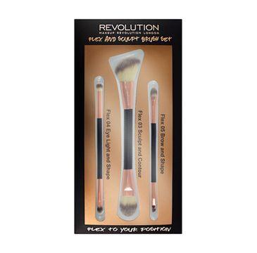 Makeup Revolution Brush Flex & Sculp Brush Set – zestaw pędzli do makijażu (3 szt.)