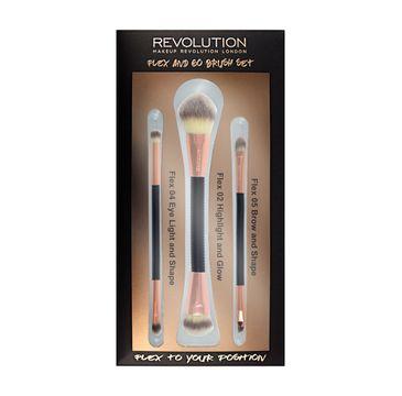 Makeup Revolution Brush Flex & Go Brush Set – zestaw pędzli do makijażu (3 szt.)