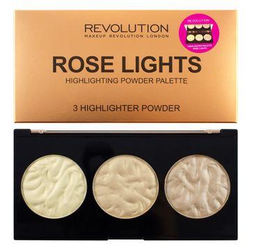 Makeup Revolution Highlighter Palette Rose Lights – rozświetlacze do twarzy (15 g)