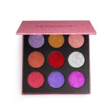 Makeup Revolution Pressed Glitter Palette – paleta prasowanych brokatów do powiek Diva (10.8 g)
