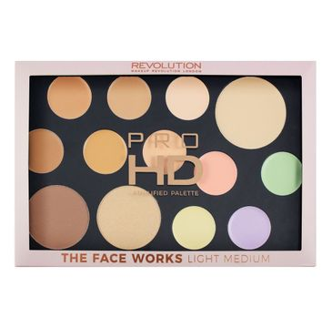 Makeup Revolution Pro HD Palette The Face Works – zestaw do makijażu twarzy Light/Medium (1 szt.)