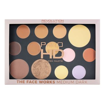 Makeup Revolution Pro HD Palette The Face Works – zestaw do makijażu twarzy Medium/Dark (1 szt.)
