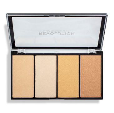 Makeup Revolution Re-Loaded Lustre – paleta rozświetlaczy Lights Warm (1 szt.)