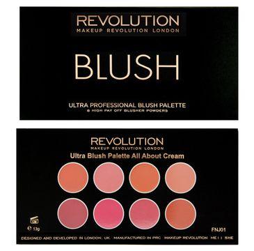 Makeup Revolution Ultra Blush Palette 8 -  zestaw róży do policzków All About Cream (13 g)