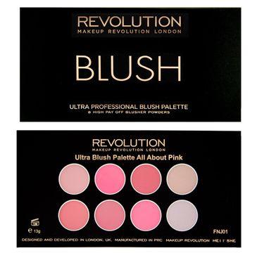 Makeup Revolution Ultra Blush Palette 8 - zestaw róży do policzków All About Pink (13 g)