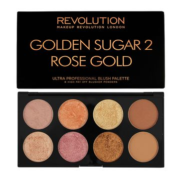 Makeup Revolution Ultra Blush Palette 8 - zestaw do konturowania twarzy Golden Sugar 2 Rose Gold (13 g)