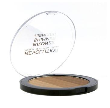 Makeup Revolution Ultra Bronze Shimmer & Highlighter - puder brązujący i rozświetlający (15 g)