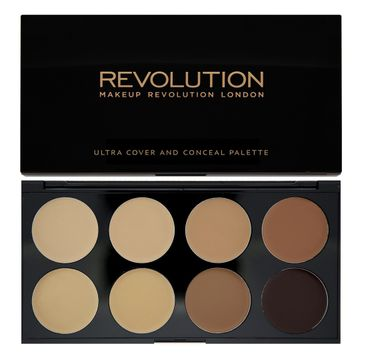 Makeup Revolution Ultra Cover and Conceal Palette - korektory  Medium Dark pod oczy i do twarzy (10 g)