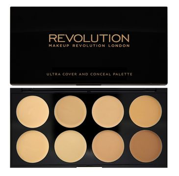 Makeup Revolution Ultra Cover and Concealer Palette - korektory Light-Medium pod oczy i do twarzy (10 g)