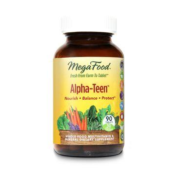 Mega Food Alpha Teen organiczne multiwitaminy dla nastolatków suplement diety 90 tabletek