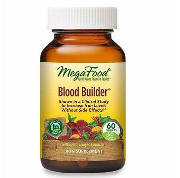 Mega Food Blood Builder suplement pomagający utrzymać prawidłowy poziom żelaza we krwi suplement diety (60 tabletek)