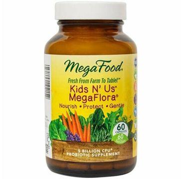 Mega Food Kids N' Us Mega Flora probiotyk dla dzieci i dla dorosłych suplement diety 60 tabletek