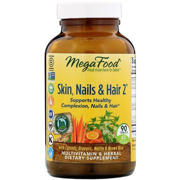 Mega Food Skin Nails & Hair 2 skóra paznokcie włosy multiwitamina suplement diety (90 tabletek)