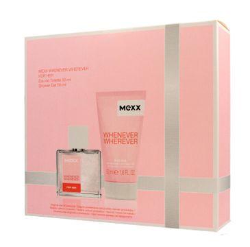 Mexx Zestaw prezentowy Whenever Wherever for Her woda toaletowa 30 ml + żel pod prysznic 50 ml