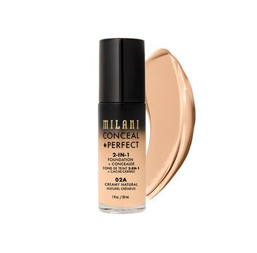 Milani – Conceal + Perfect 2-in-1 Foundation + Concealer kryjący podkład do twarzy 02A Creamy Natural (30 ml)