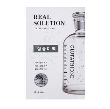 Missha Real Solution Tencel Sheet Mask Pure Whitening Face Mask rozświetlająca maseczka do twarzy w płachcie 25g