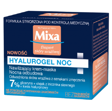 MIXA Hyalurogel Noc nawilżający krem-maska na noc 50ml