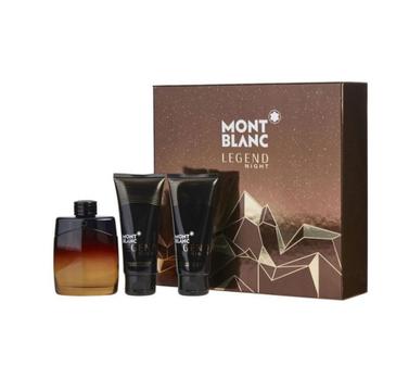 Mont Blanc – Legend Night zestaw woda perfumowana spray 100ml + balsam po goleniu 100ml + żel pod prysznic 100ml (1 szt.)
