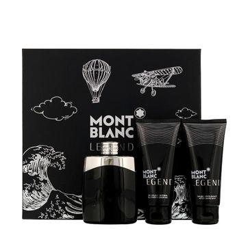 Mont Blanc Legend zestaw woda toaletowa spray 100 ml + balsam po goleniu 100 ml + żel pod prysznic 100 ml