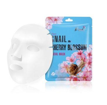 Moods Snail Cherry Blossom Facial Mask maska w płachcie ze śluzem ślimaka i ekstraktem z kwiatów (38 g)