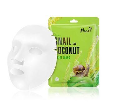 Moods Snail Coconut Facial Mask maska w płachcie ze śluzem ślimaka i ekstraktem z kokosa dla cery suchej (38 g)