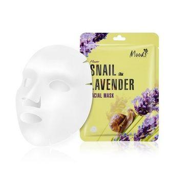 Moods Snail Lavender Facial Mask maska w płachcie ze śluzem ślimaka i wyciągiem z lawendy dla cery dojrzałej (38 g)