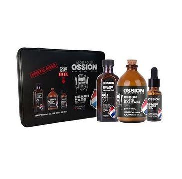 Morfose Ossion Premium Barber Beard zestaw szampon do brody 100ml + balsam do brody 100ml + olejek do brody 20ml metalowe pudełko (1 szt.)