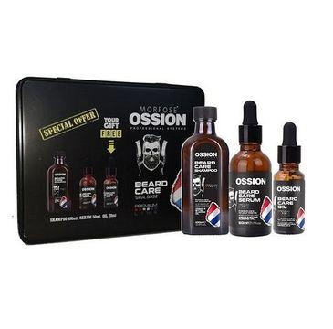 Morfose Ossion Premium Barber Beard zestaw szampon do brody 100ml + serum do brody 50ml + olejek do brody 20ml metalowe pudełko (1 szt.)