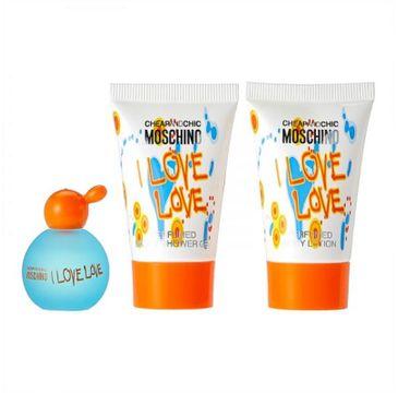 Moschino Cheap and Chic  I Love Love zestaw MINI woda toaletowa 4.9ml + żel pod prysznic  25ml + balsam do ciała 25ml