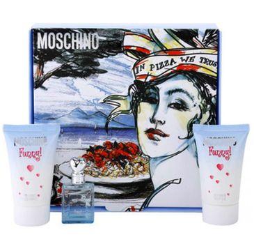 Moschino Funny! zestaw prezentowy woda toaletowa 4 ml + żel pod prysznic 25 ml + balsam do ciała 25 ml