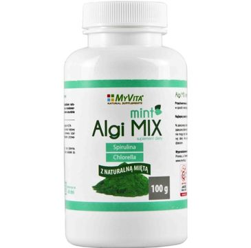 Myvita Algi Mix Mint spirulina i chlorella z naturalną miętą suplement diety 100g