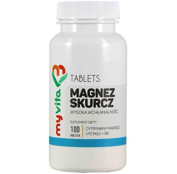 Myvita Magnez Skurcz cytrynian magnezu i potasu + B6 suplement diety 100 tabletek