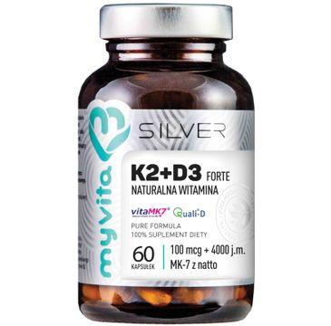 Myvita Silver Witamina K2 100µg + D3 Forte 4000IU 100% czysty suplement diety 60 kapsułek
