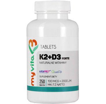 Myvita Witamina K2 MK-7 100µg + D3 2000IU suplement diety 250 tabletek