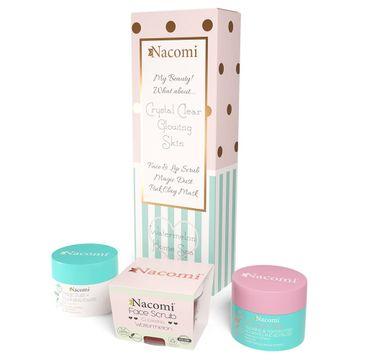 Nacomi – Domowe Spa zestaw maska oczyszczająco-ściągająca Różowa 50g + odświeżający peeling do twarzy i ust Arbuz 50g + pyłek oczyszczająco-detoksykujący 20g (1 szt.)
