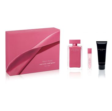 Narciso Rodriguez Fleur Musc For Her zestaw woda perfumowana spray 100ml + miniaturka wody perfumowanej spray 10ml + balsam do ciała 75ml