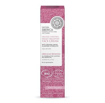 Natura Siberica Organic Certified Night Recovery Face Cream organiczny certyfikowany odmładzająco-regenerujący krem do twarzy na noc z hydrolatem z cladonii s�nieżnej (50 ml)