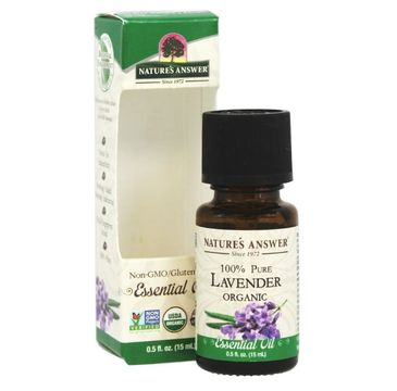 Nature's Answer 100% Pure Lavender Organic Essential Oil olej lawendowy suplement diety 15ml