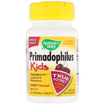 Nature's Way Primadophilus Kids Cherry mieszanka bakterii probiotycznych o smaku wiśni suplement diety 30 tabletek do żucia