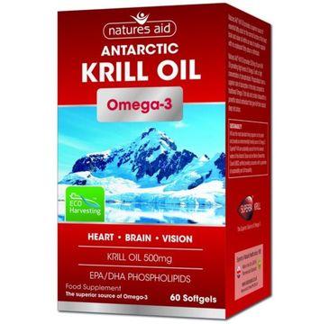 Natures Aid Antarctic Krill Oil 500 mg + Omega 3 suplement diety 60 kapsułek żelowych