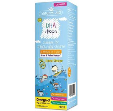 Natures Aid DHA Drops Omega-3 suplement diety w płynie Lemon Flavour 50ml