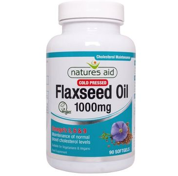 Natures Aid Flaxseed Oil 1000mg Omega 3. 6 & 9 suplement diety 90 kapsułek żelowych