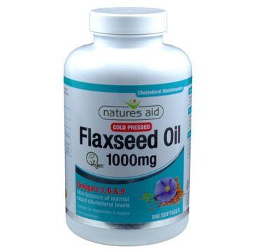 Natures Aid Flaxseed Oil 1000mg suplement diety 180 kapsułek żelowych