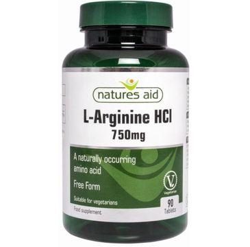 Natures Aid L-Arginina HCL 750mg suplement diety 90 tabletek