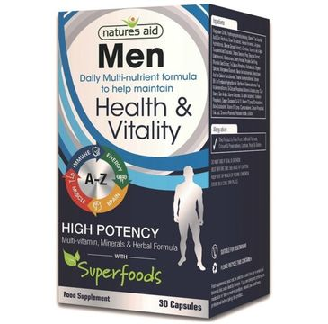 Natures Aid Men Health & Vitality High Potency suplement diety 30 kapsułek