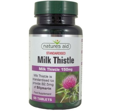 Natures Aid Milk Thistle (Ostropest Plamisty) 150mg suplement diety 60 tabletek