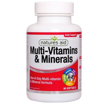 Natures Aid Multi-Vitamins & Minerals With Iron suplement diety 90 kapsułek
