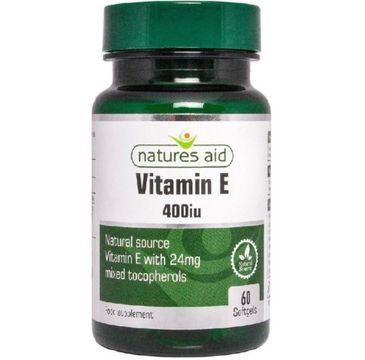 Natures Aid Vitamin E 400IU suplement diety 60 kapsułek